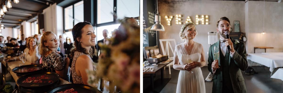 Hochzeitsfeier industriell Fabrikhochzeit - urbane Hochzeitsfotos im Restaurant Sonnendeck Hochzeitslocation am Wasser Hochzeitsfotograf Berlin © www.hochzeitslicht.de