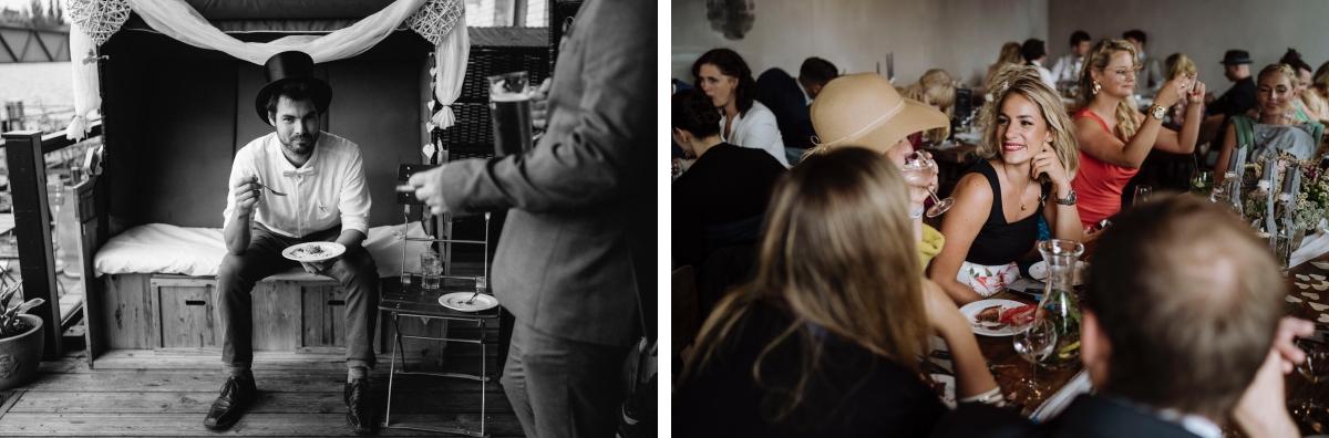 Hochzeitsbilder entspannte Hochzeitsfeier - urbane Hochzeitsfotos im Restaurant Sonnendeck Hochzeitslocation am Wasser Hochzeitsfotograf Berlin © www.hochzeitslicht.de