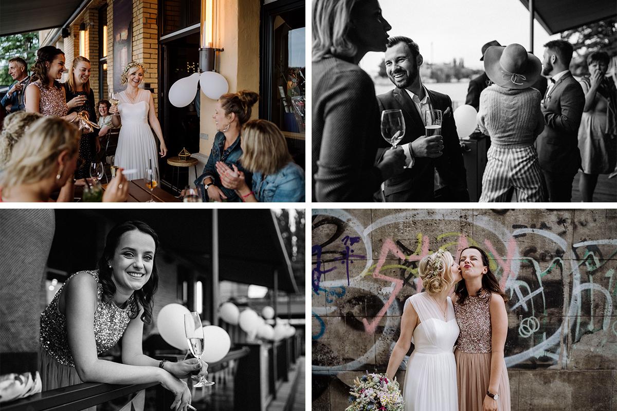 Inspiration Hochzeitsfotos Gäste - urbane Hochzeitsfotos im Restaurant Sonnendeck Hochzeitslocation am Wasser Hochzeitsfotograf Berlin © www.hochzeitslicht.de