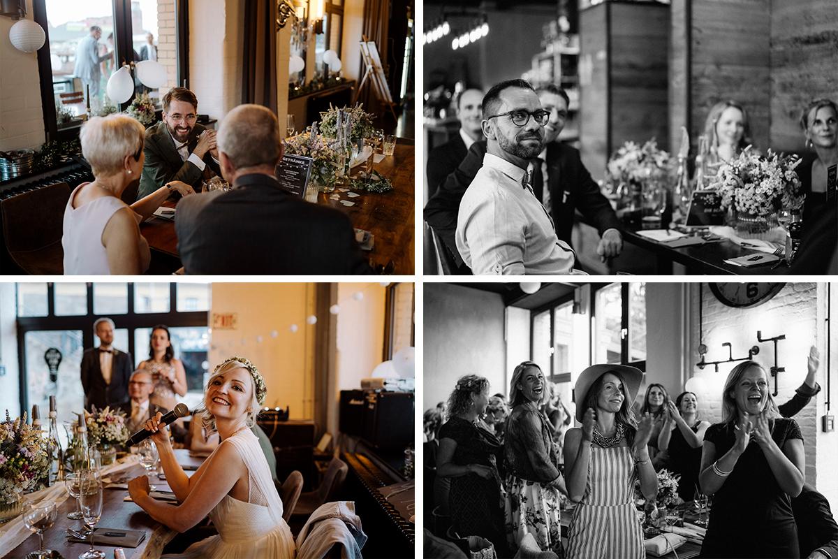 Hochzeitsfeier Abend Hochzeitsfotos Berlin - urbane Hochzeitsfotos im Restaurant Sonnendeck Hochzeitslocation am Wasser Hochzeitsfotograf Berlin © www.hochzeitslicht.de