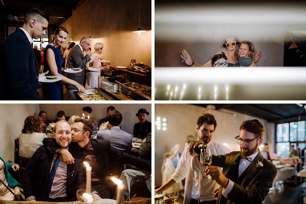 Momentaufnahmen Hochzeitsfeier Fabrikhochzeit - urbane Hochzeitsfotos im Restaurant Sonnendeck Hochzeitslocation am Wasser Hochzeitsfotograf Berlin © www.hochzeitslicht.de