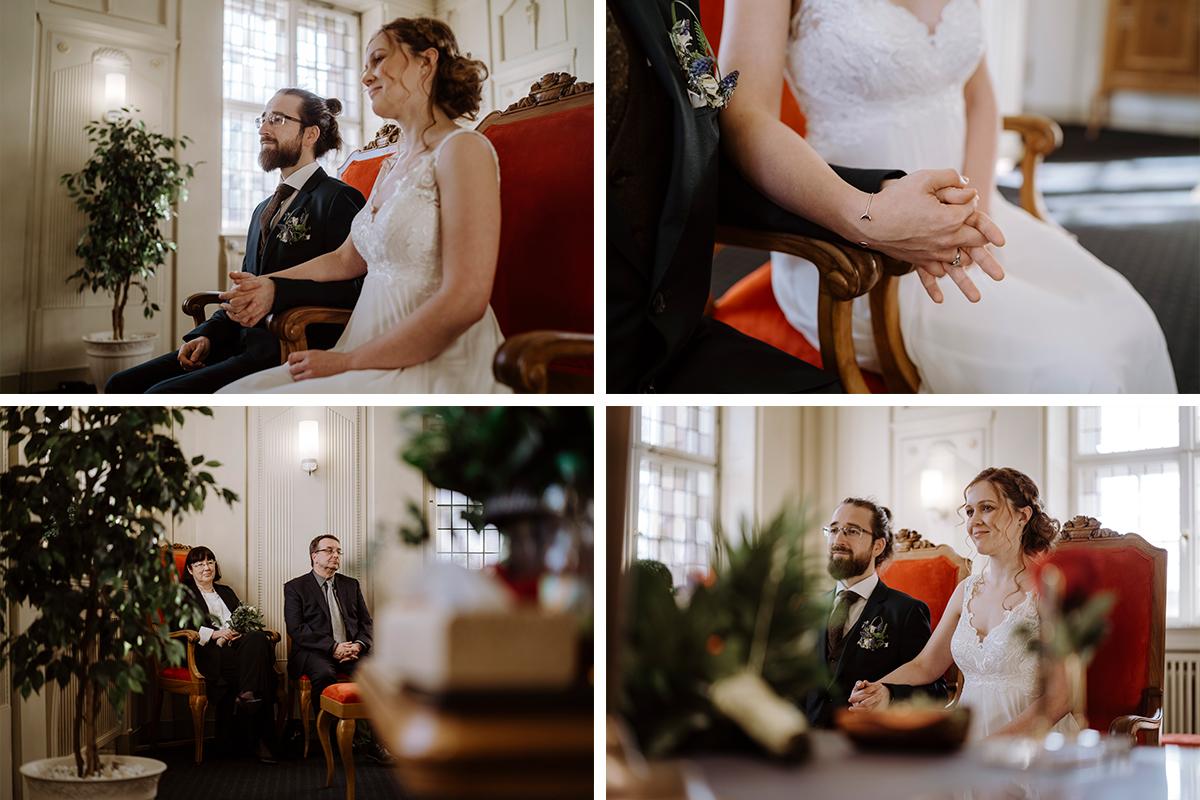 Hochzeitsfotos Berlin Trauung Standesamt kleiner Kreis ohne Gäste - Hochzeitsfotograf Berlin Standesamt Hochzeit im Winter im Rathaus Schöneberg © www.hochzeitslicht.de