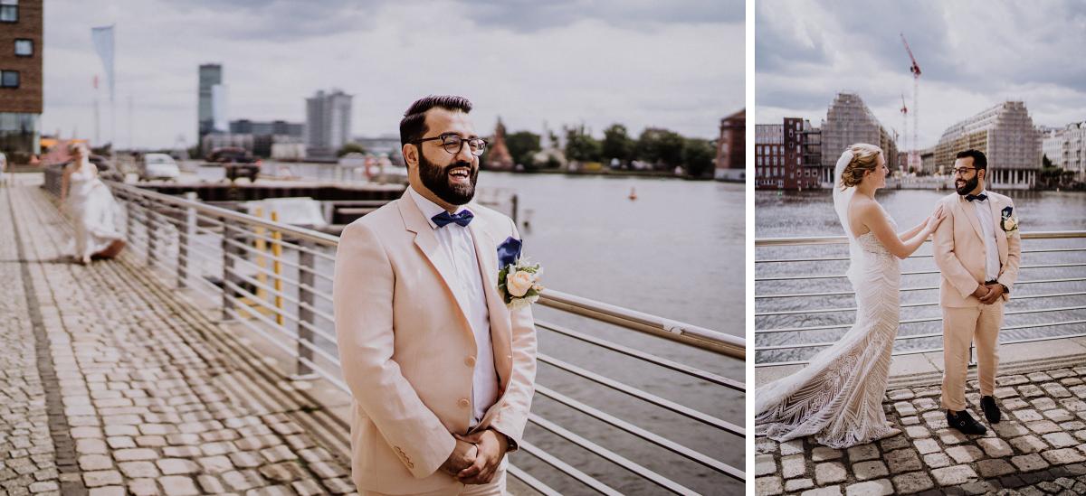 First Look Brautpaar am Wasser - Persische Boho-Chic Hochzeit in der Malzfabrik Berlin von Hochzeitsfotografin aus Berlin Friedrichshain © www.hochzeitslicht.de #hochzeitslicht