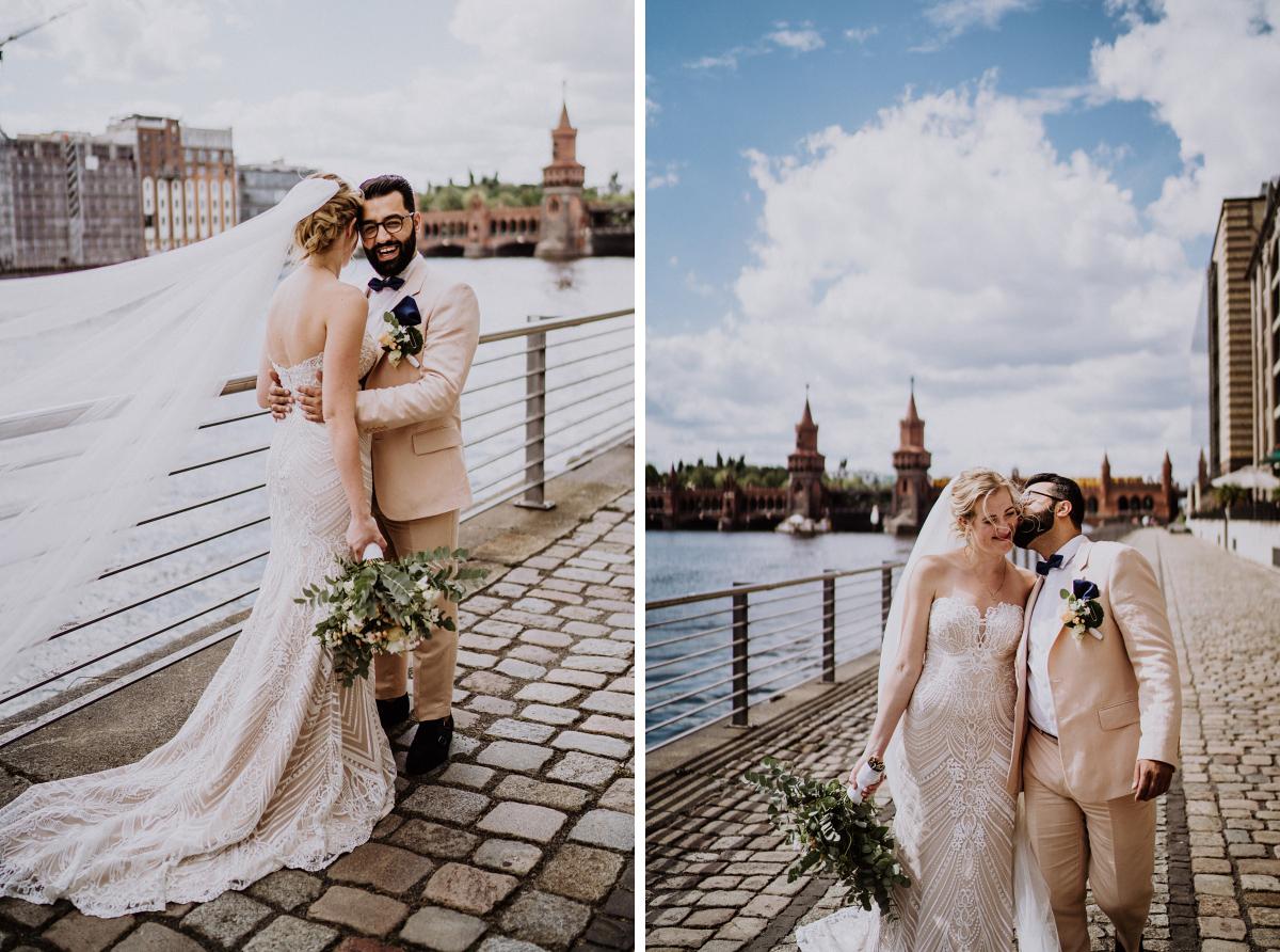 Fotoshooting Brautpaar am Wasser Oberbaumbrücke - Persische Boho-Chic Hochzeit in der Malzfabrik Berlin von Hochzeitsfotografin aus Berlin Friedrichshain © www.hochzeitslicht.de #hochzeitslicht