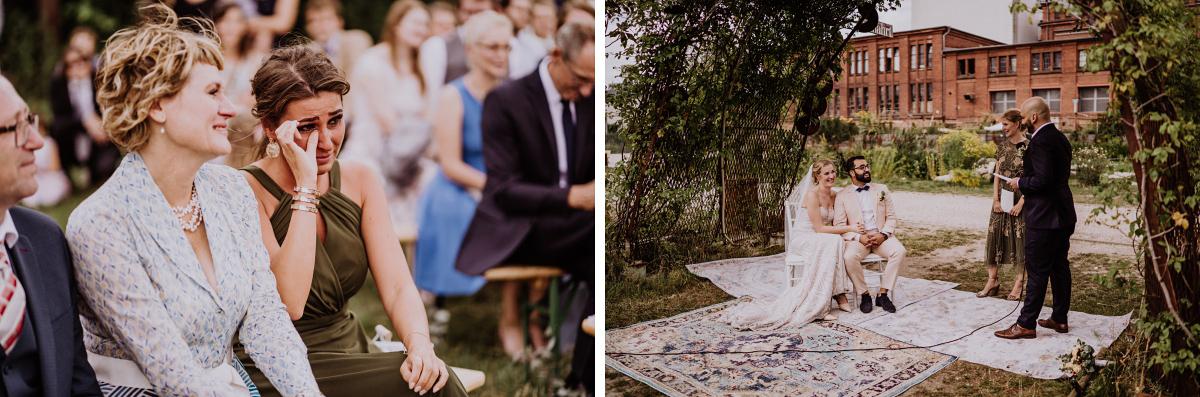 Hochzeitsfotos freie Trauung draußen - Persische Boho-Chic Hochzeit in der Malzfabrik Berlin von Hochzeitsfotografin aus Berlin Friedrichshain © www.hochzeitslicht.de #hochzeitslicht