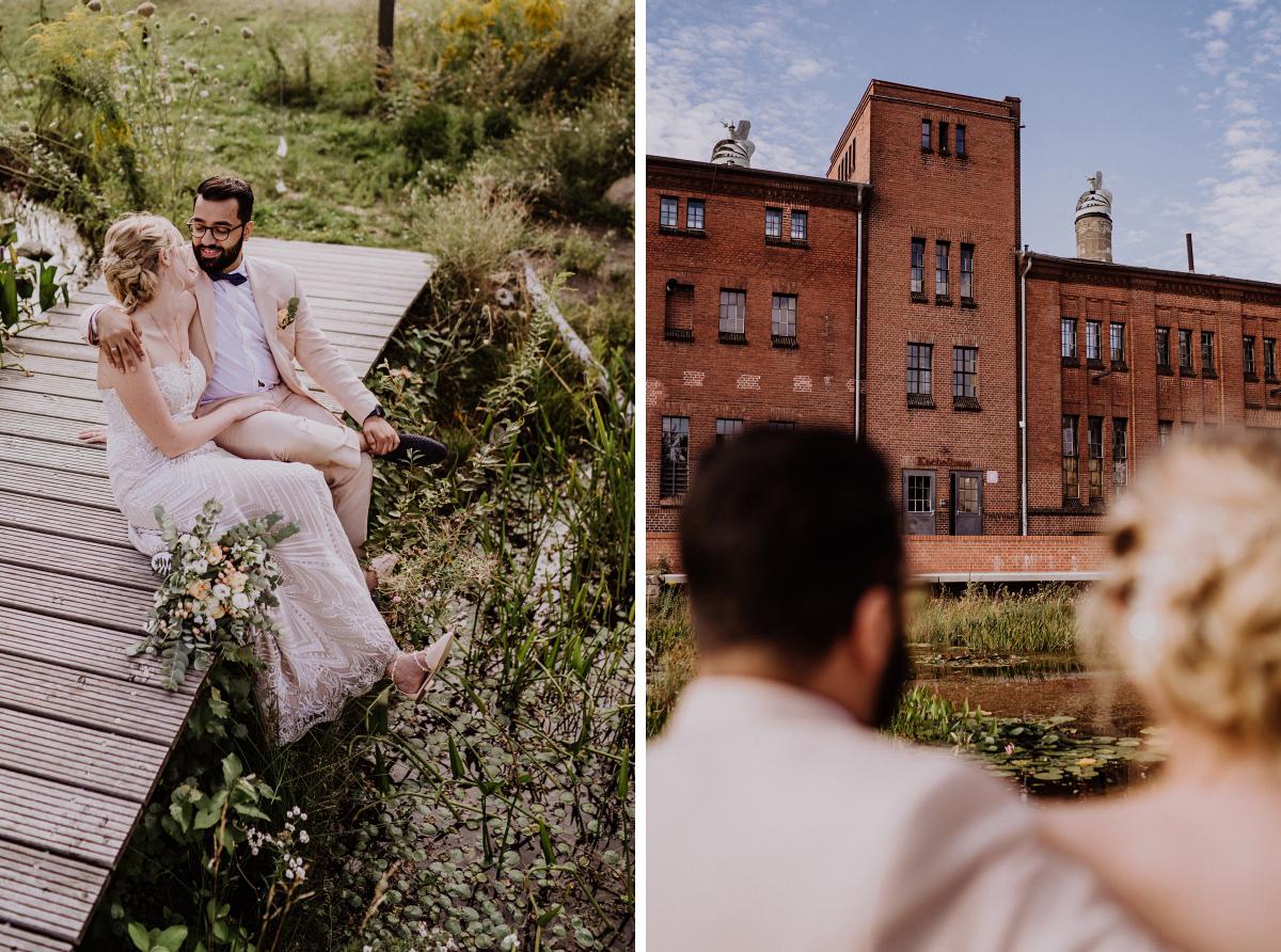 Fotoshooting Brautpaar Teich Seerosen - Persische Boho-Chic Hochzeit in der Malzfabrik Berlin von Hochzeitsfotografin aus Berlin Friedrichshain © www.hochzeitslicht.de #hochzeitslicht