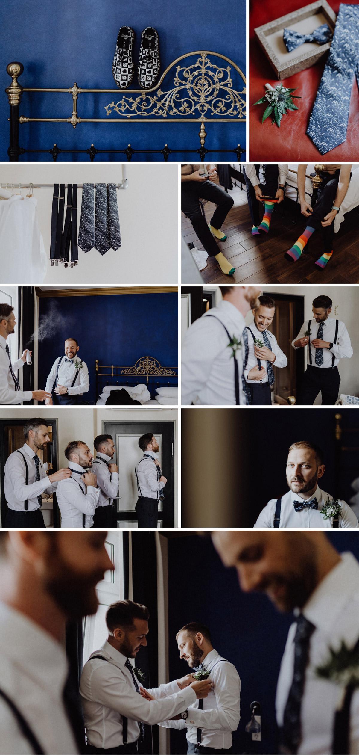 Ideen Fotos Hochzeit Vorbereitungen Bräutigam - Hochzeitsfotograf in Hochzeitslocation mit Strand an der Spree im Sage Restaurant Berlin © www.hochzeitslicht.de #hochzeitslicht