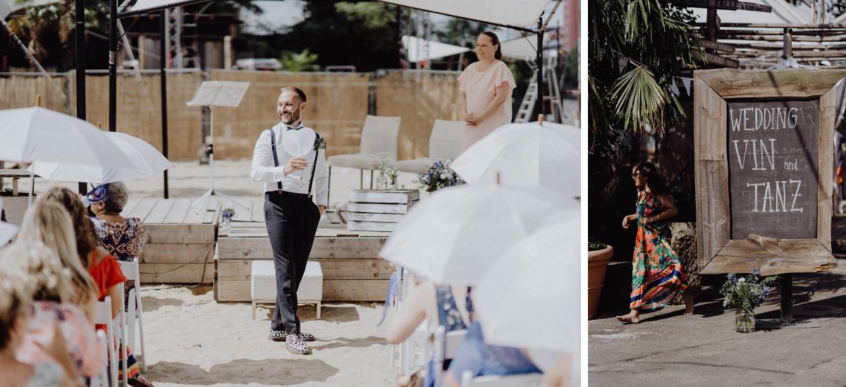 Hochzeitsfoto freie Trauung Strand Berlin - Hochzeitsfotograf in Hochzeitslocation mit Strand an der Spree im Sage Restaurant Berlin © www.hochzeitslicht.de #hochzeitslicht