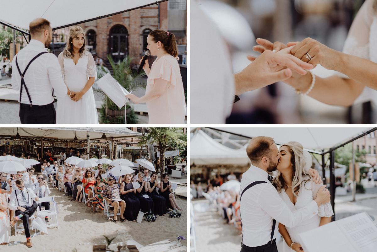 Hochzeitsreportage freie Trauung am Wasser - Hochzeitsfotograf in Hochzeitslocation mit Strand an der Spree im Sage Restaurant Berlin © www.hochzeitslicht.de #hochzeitslicht