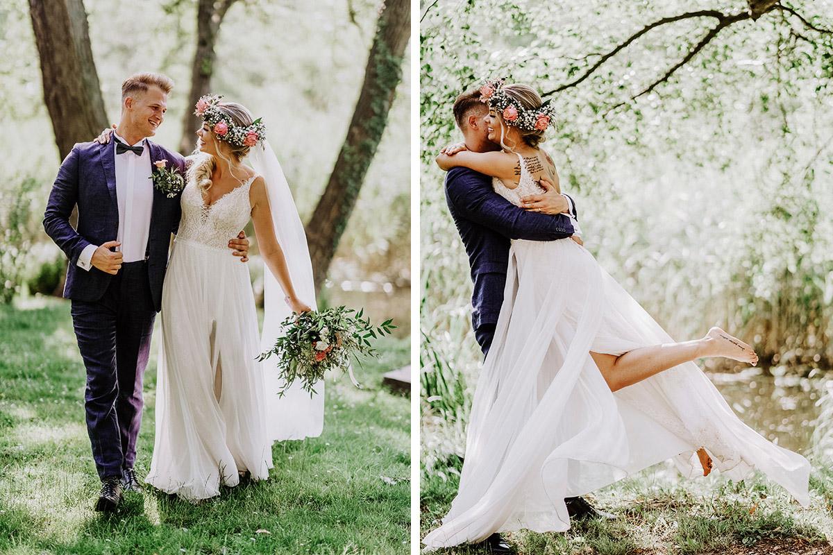 Fotoshooting Brautpaar Idee Posieren ungestellt - Locationname Hochzeitsfotograf © www.hochzeitslicht.de #hochzeitslicht