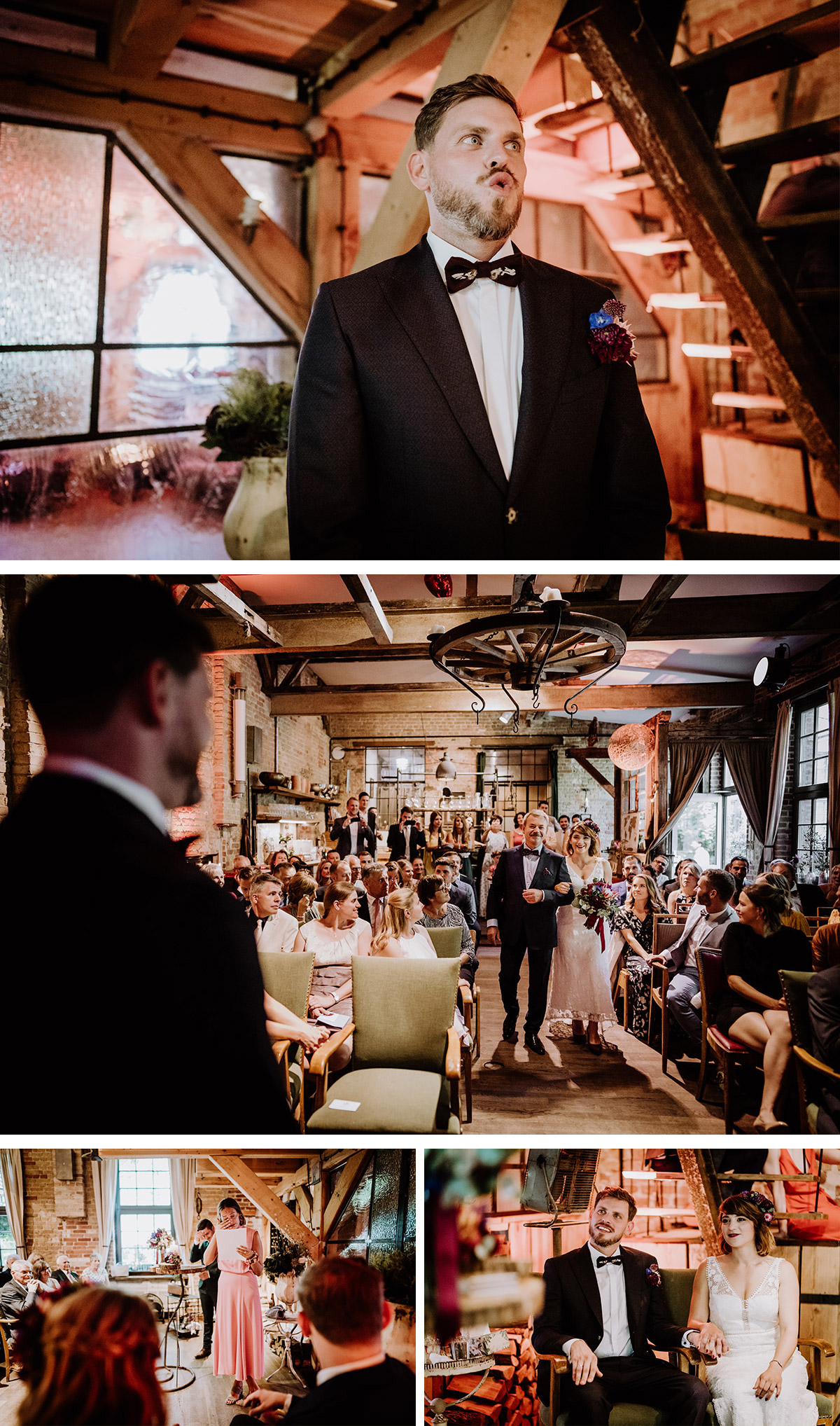 Hochzeit First Look bei Trauung emotionaler Hochzeitsmoment Hochzeitsreportage - Hochzeit Berlin Friedrichshain in Hochzeitslocation Old Smithy's Dizzle von Boho Hochzeitsfotograf © www.hochzeitslicht.de #hochzeitslicht