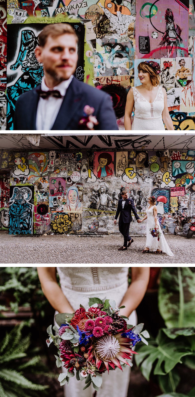 Brautpaarfotos Graffiti Hochzeitsblumen Brautstrauß mit afrikanischer Protea in Weinrot und Blau - Hochzeit Berlin Friedrichshain in Hochzeitslocation Old Smithy's Dizzle von Boho Hochzeitsfotograf © www.hochzeitslicht.de #hochzeitslicht