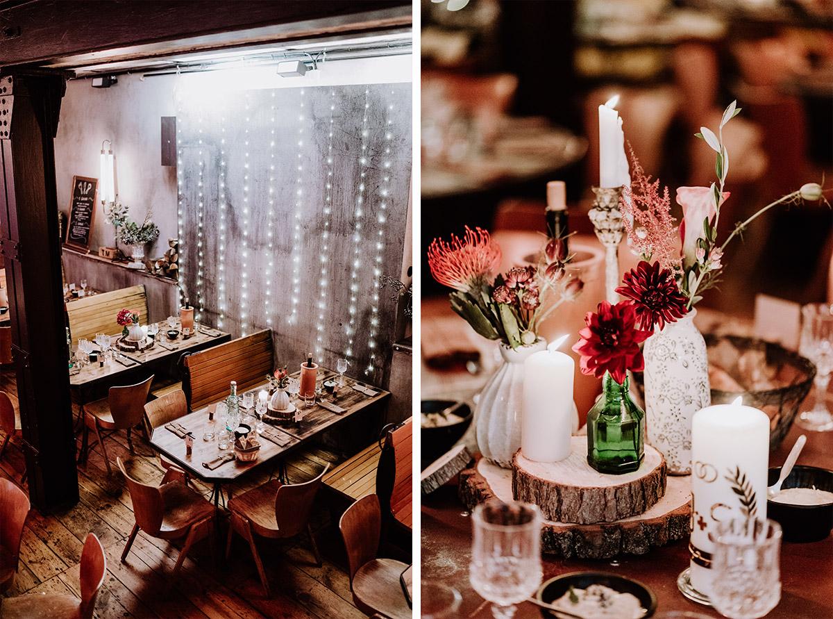 vintage Hochzeit Tischdekoration weiß rot Protea - Hochzeit Berlin Friedrichshain in Hochzeitslocation Old Smithy's Dizzle von Boho Hochzeitsfotograf © www.hochzeitslicht.de #hochzeitslicht