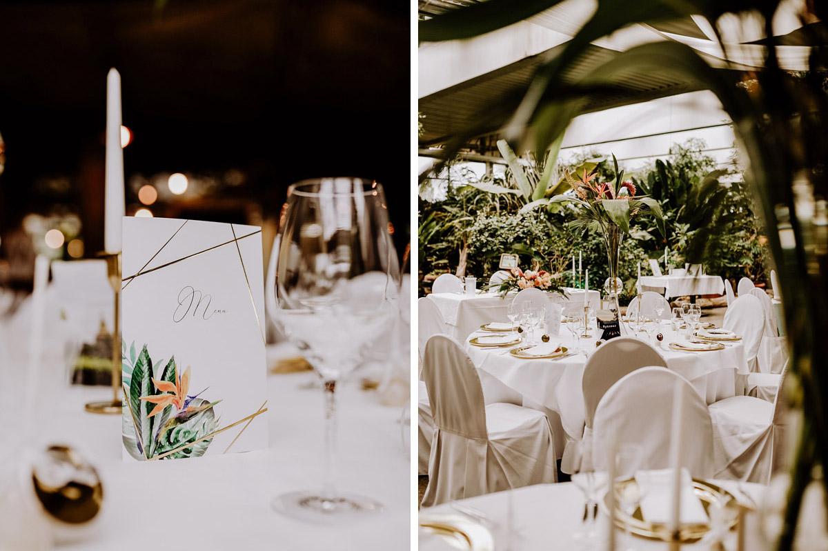 Ideen tropische Tischdekoration Mottohochzeit tropical wedding - Hochzeitsfotos tropische Hochzeit in der Biosphäre Potsdam von Hochzeitsfotograf Berlin © www.hochzeitslicht.de #hochzeitslicht