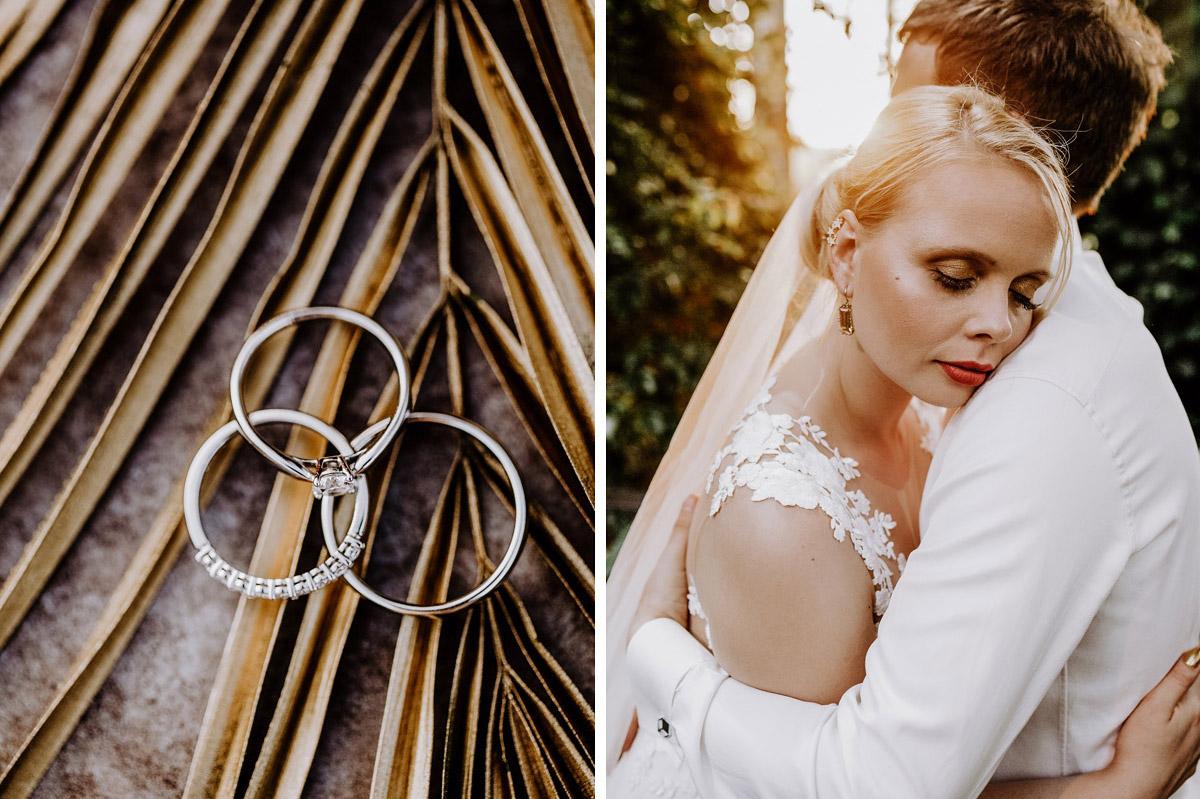Idee intime Pose Fotoshooting Brautpaar Umarmung Augen geschlossen - Hochzeitsfotos tropische Hochzeit in der Biosphäre Potsdam von Hochzeitsfotograf Berlin © www.hochzeitslicht.de #hochzeitslicht