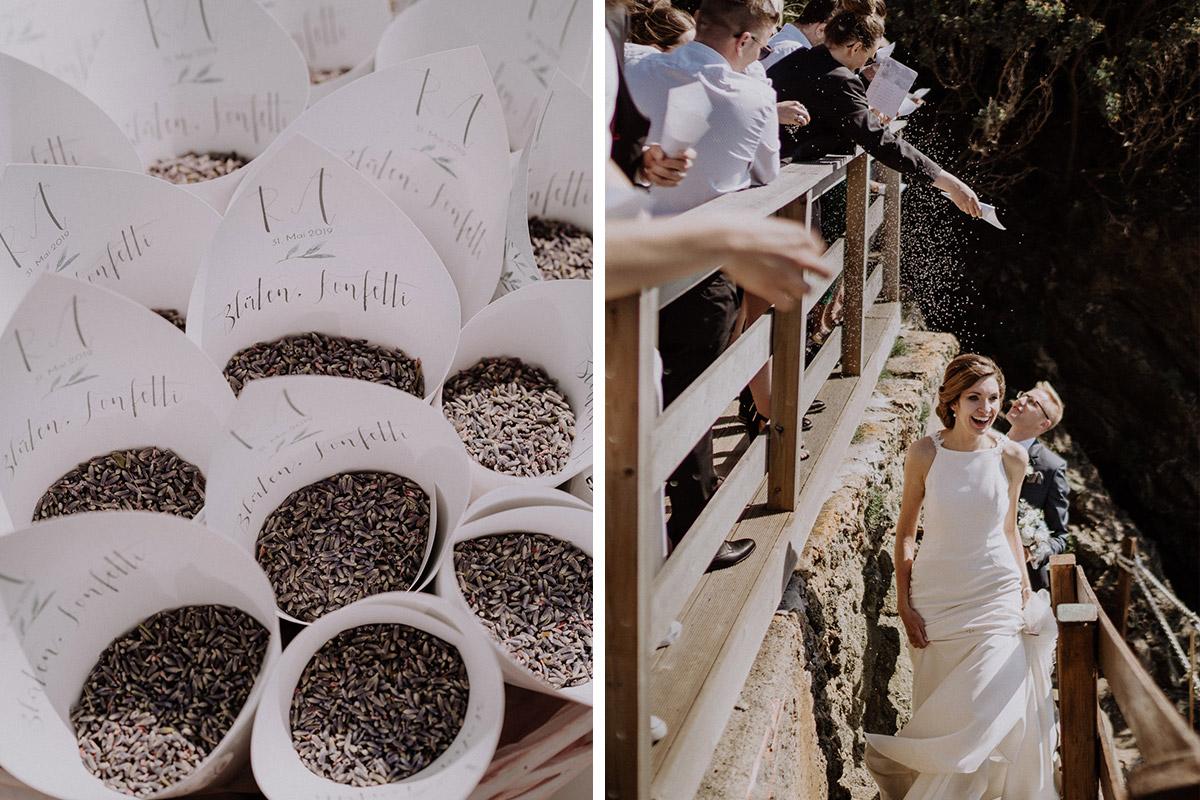 Italien Hochzeit mit Hochzeitplanerin aus Berlin Auszug Brautpaar Blütenkonfetti #hochzeitslicht Toskana Hochzeitsfotos und Hochzeitsfilm © www.hochzeitslicht.de
