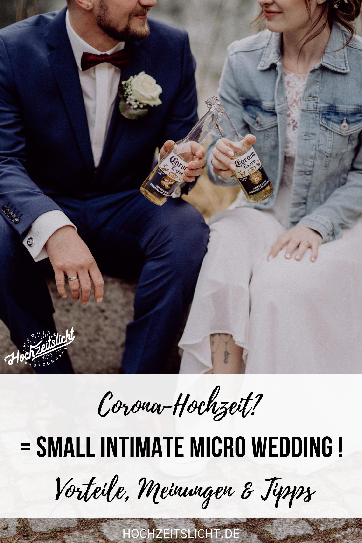 Corona-Hochzeit? = Kleine Hochzeit! Ideen: Mini-Hochzeit oder Micro-Wedding werden durch Covid 19 umgeplante Hochzeiten genannt. Auch bekannt unter Small Intimate Wedding oder Tiny Wedding hat diese Form des standesamtlichen Heiratens viele Vorteile. Ideen zu Hochzeitsbildern sowie Experten- und Brautpaar-Tipps zu diesem Hochzeitstrend verraten wir euch ausführlich in unserem #hochzeitslicht Blog. #coronahochzeit #covid19hochzeit #standesamt #kleinehochzeit #smallwedding #intimatewedding