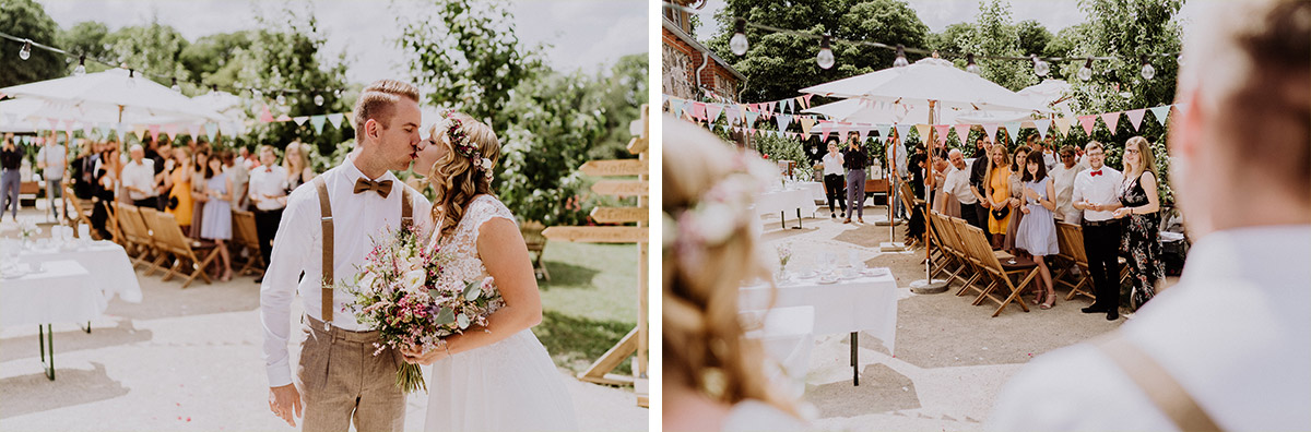 Hochzeitsfoto Auszug Brautpaar - vintage Hochzeit in Scheune mit Garten in Brandenburg Ferienscheune Barnimer Feldmark von Hochzeitsfotograf aus Berlin #hochzeitslicht © www.hochzeitslicht.de