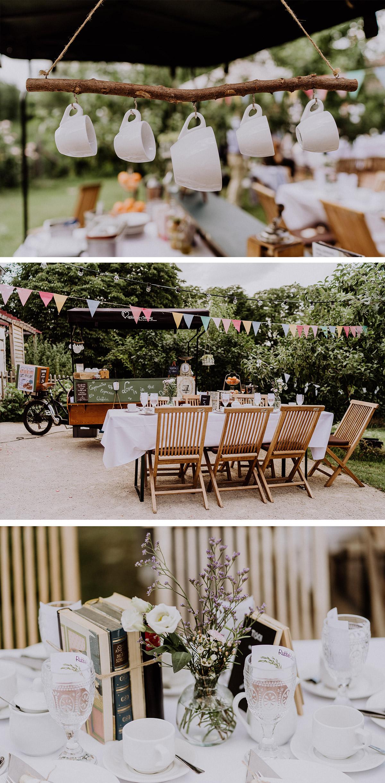 Garten Hochzeit Dekoration Tisch mit alten Büchern für Tischnummer und Idee zur Unterhaltung Gäste Getränkewagen Fahrrad auf Hochzeitsfeier