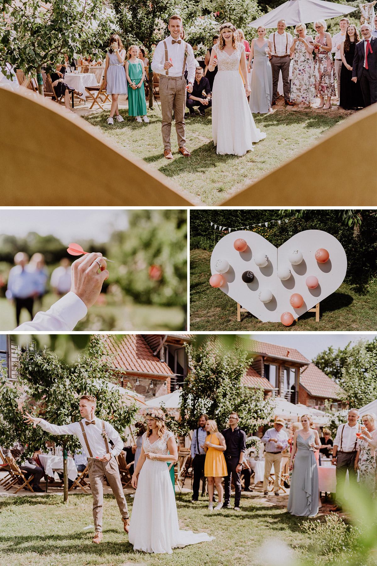 Hochzeit Ideen zur Unterhaltung Gäste auf Hochzeitsfeier; Gastgeschenk ausgefallen an das Brautpaar: DIY Herz mit Luftballons und Pfeilen; Programm Hochzeit #hochzeitsspiel #weddinggames