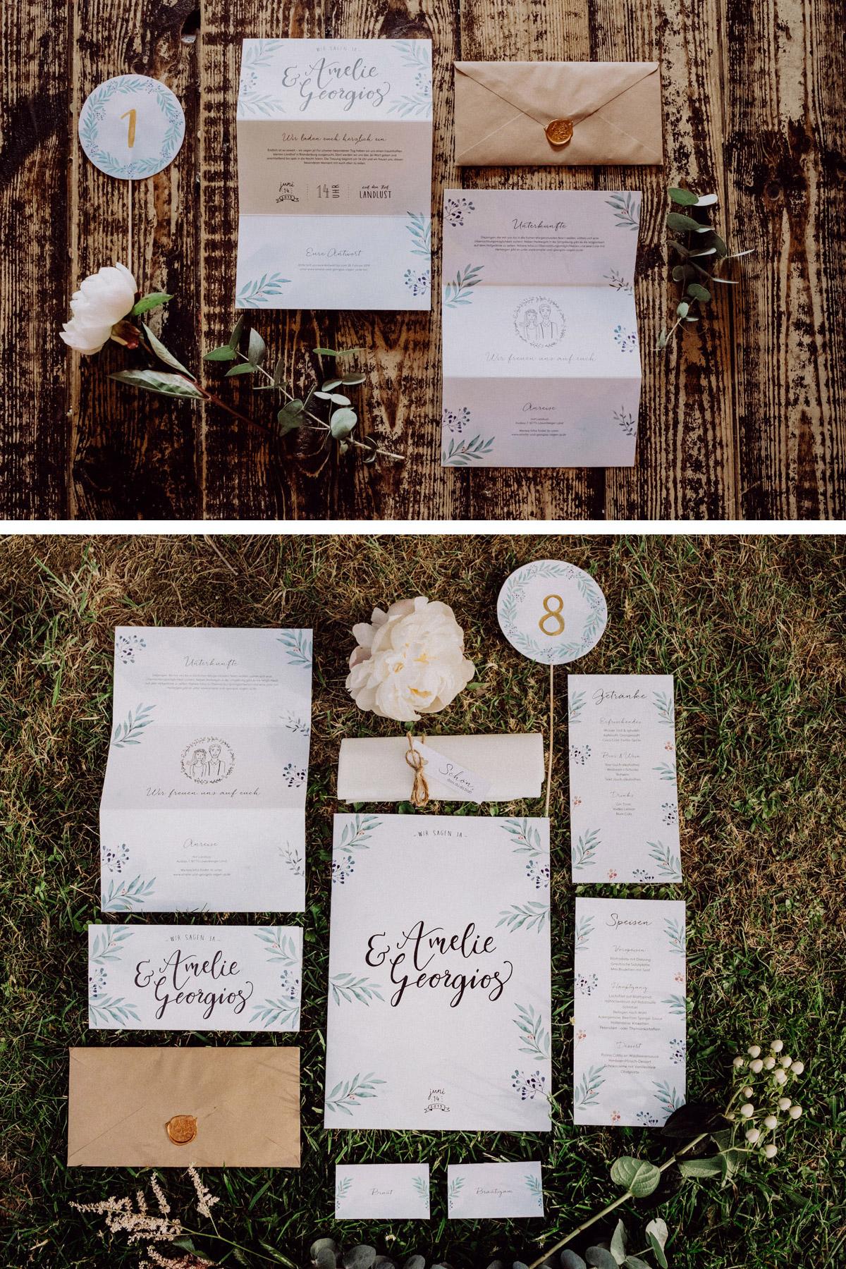 Hochzeit Scheune Einladung, DIY vintage Hochzeitseinladung Weiß, Grün, Gold, Beige handbemalt von Braut mit Platzkarte, Speisekarte, Getränkekarte, Tischnummern, Servietten-Gruß