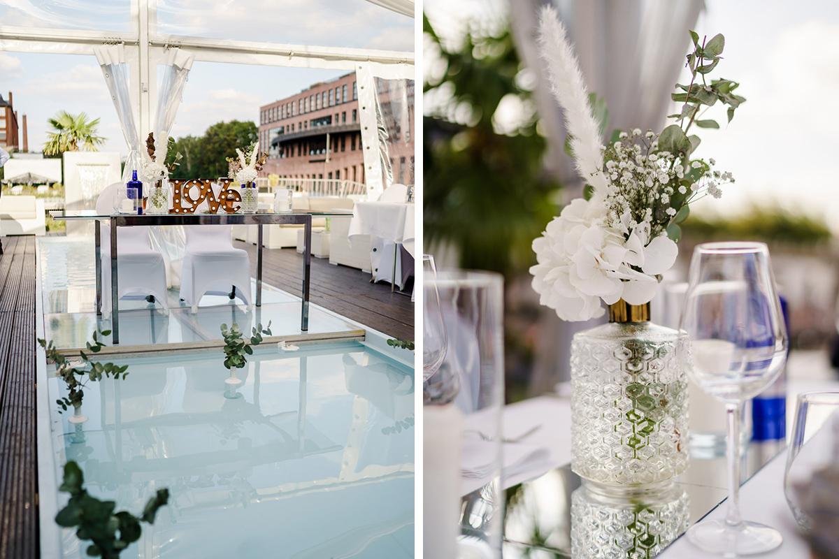Dekoration moderne Berlin Hochzeit - iLand Pier13 Hochzeitslocation Berlin von Hochzeitsfotograf © www.hochzeitslicht.de #hochzeitslicht