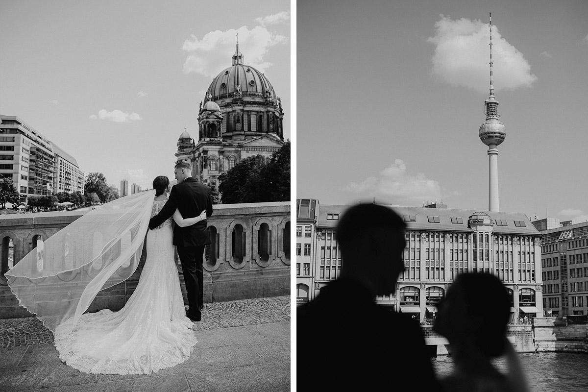 Hochzeitsfotos Brautpaar Berliner Dom Fernsehturm - heiraten im Berliner Dom Hochzeit im Clärchens Ballhaus von Hochzeitsfotograf Berlin © www.hochzeitslicht.de #hochzeitslicht
