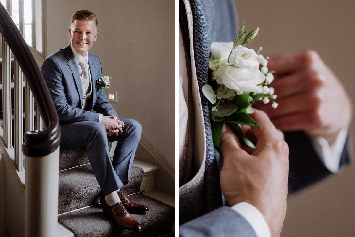 Idee Portraitfotos Bräutigam vor Trauung - Hochzeit Shooting Ideen von vintage Hochzeitsfotograf Berlin © www.hochzeitslicht.de #hochzeitslicht auf Schloss Kartzow