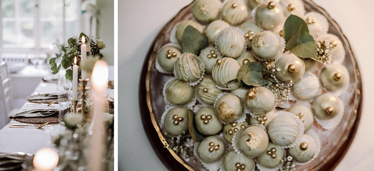 Vintagehochzeit natürlich-elegant gold weiß grün Tischdeko - Hochzeit Shooting Ideen von vintage Hochzeitsfotograf Berlin © www.hochzeitslicht.de #hochzeitslicht auf Schloss Kartzow