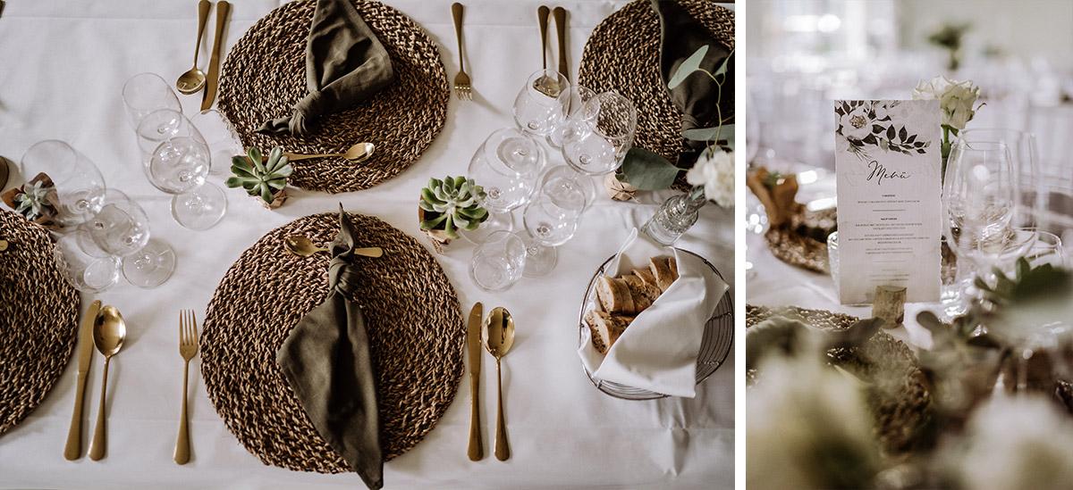 Inspiration natürliche stilvolle Tischdekoration Vintagehochzeit - Hochzeit Shooting Ideen von vintage Hochzeitsfotograf Berlin © www.hochzeitslicht.de #hochzeitslicht auf Schloss Kartzow