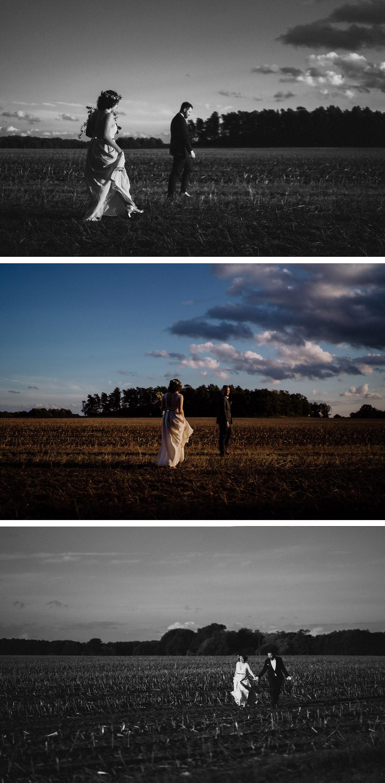 Brautshooting Feld künstlerische Idee - #Hochzeitsfoto Tipp: bittet euren Hochzeitsfotograf als Hochzeitspaar auch mal klein im Bild zu sein, so dass die Landschaft atmosphärisch wirkt; solche #Hochzeitsfotos hängt ihr euch eher an die Wand als wenn ihr groß im #Hochzeitsbild zu sehen seid © www.hochzeitslicht.de #hochzeitslicht