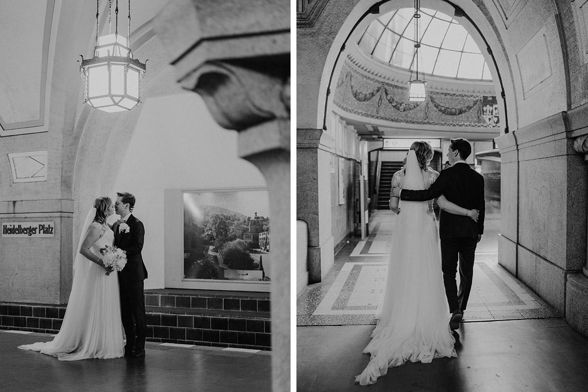 Hochzeitsfoto Brautpaar U-Bahn Berlin - Standesamtliche Trauung in Kirche und Hochzeit im Soho House Berlin von Hochzeitsfotografin © www.hochzeitslicht.de #hochzeitslicht