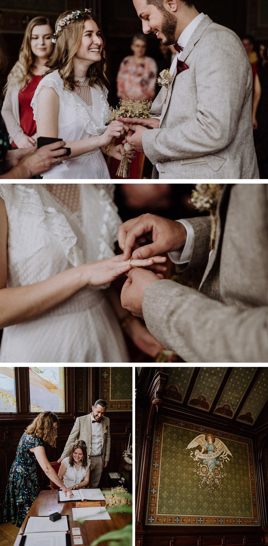Standesamt Ideen Kleidung, Braut trägt vintage Hochzeitskleid der Omi und Bräutigam einen hellen Anzug zur standesamtlichen Hochzeit in Berlin Neukölln bei Regen - mehr im Blog von © www.hochzeitslicht.de Hochzeitsfotograf Berlin #hochzeitslicht