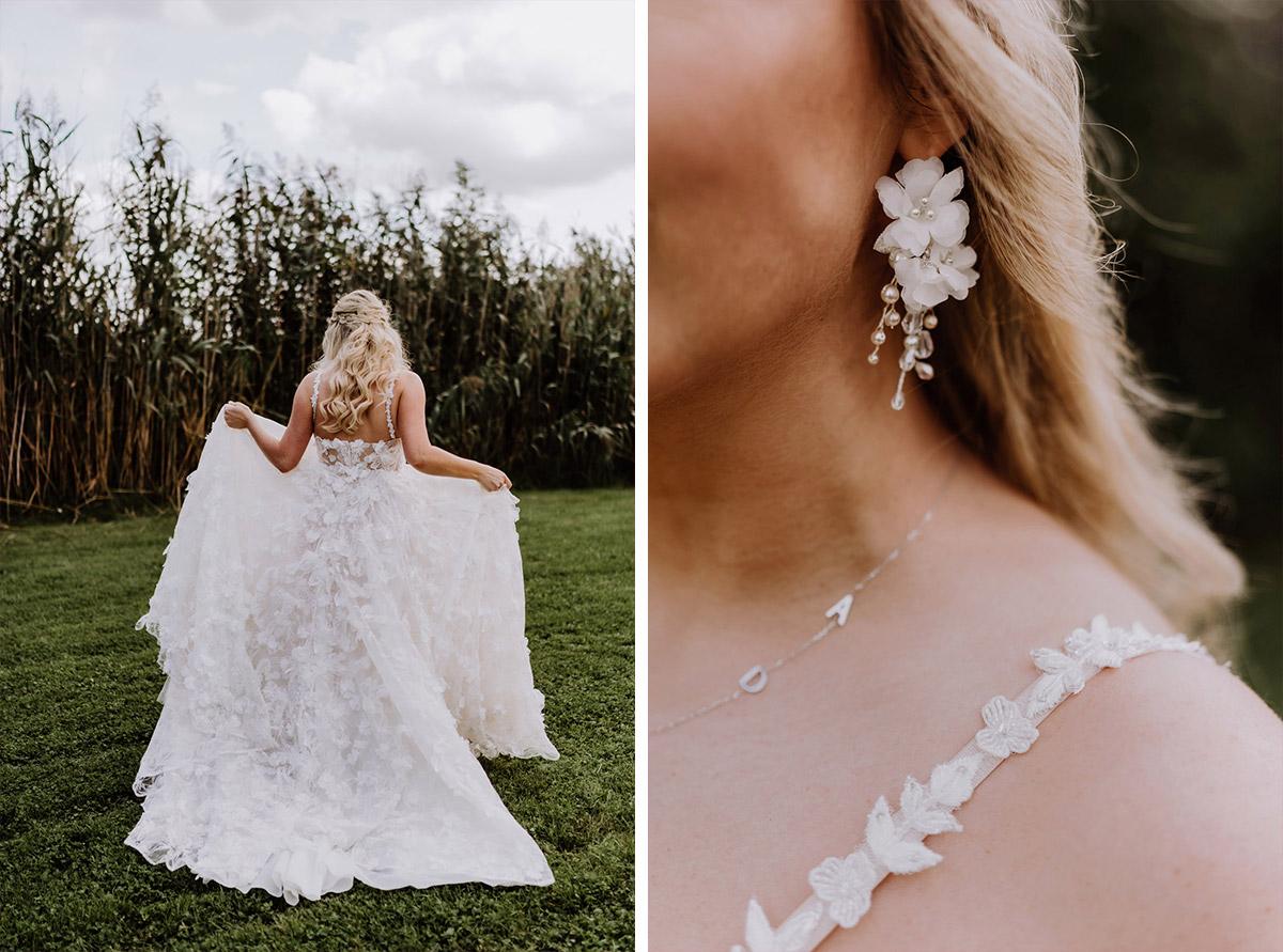 Idee Hochzeitsfotos Brautkleid von hinten und Detail Brautohrringe - Resort Schwielowsee Hochzeit mit freier Trauung von Hochzeitsfotograf Potsdam © www.hochzeitslicht.de #hochzeitslicht