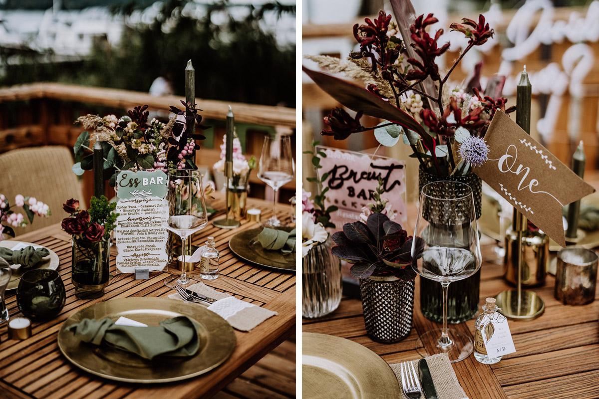 Boho Hochzeit Tischdeko Ideen - Resort Schwielowsee Hochzeit mit freier Trauung von Hochzeitsfotograf Potsdam © www.hochzeitslicht.de #hochzeitslicht