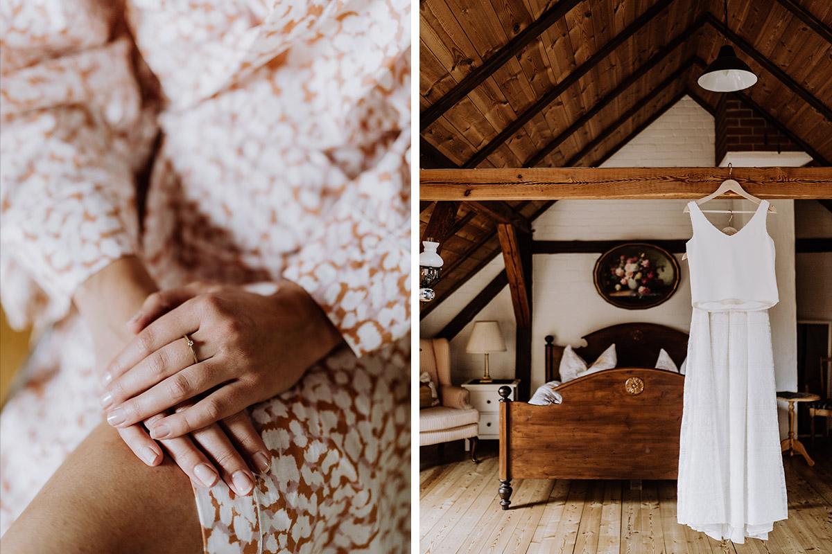 Hochzeitsfoto Brautkleid zweiteilig - Spreewald Hochzeitsfotograf aus Berlin im Standesamt Weidendom im Spreewaldresort Seinerzeit und Spreewood Distillers © www.hochzeitslicht.de #hochzeitslicht