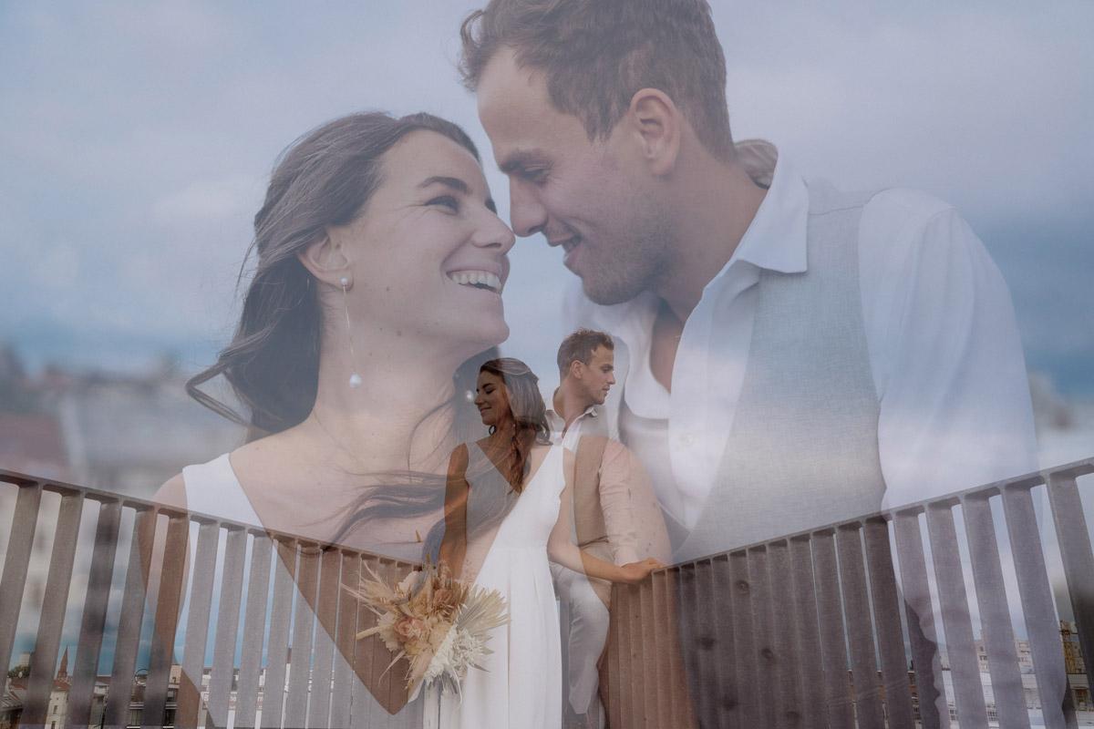 Doppelbelichtung Hochzeitsfoto kreativ - schöne Hochzeitslocations in Berlin zu finden in der urbanen Elopement Hochzeitsreportage von Hochzeitsfotograf Berlin © www.hochzeitslicht.de #hochzeitslicht