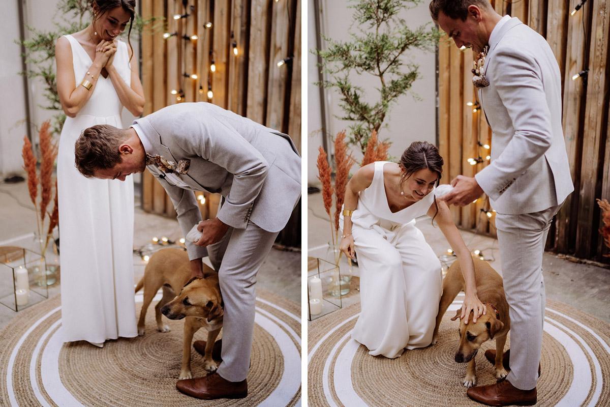 Hochzeit Hund Trauung - schöne Hochzeitslocations in Berlin zu finden in der urbanen Elopement Hochzeitsreportage von Hochzeitsfotograf Berlin © www.hochzeitslicht.de #hochzeitslicht