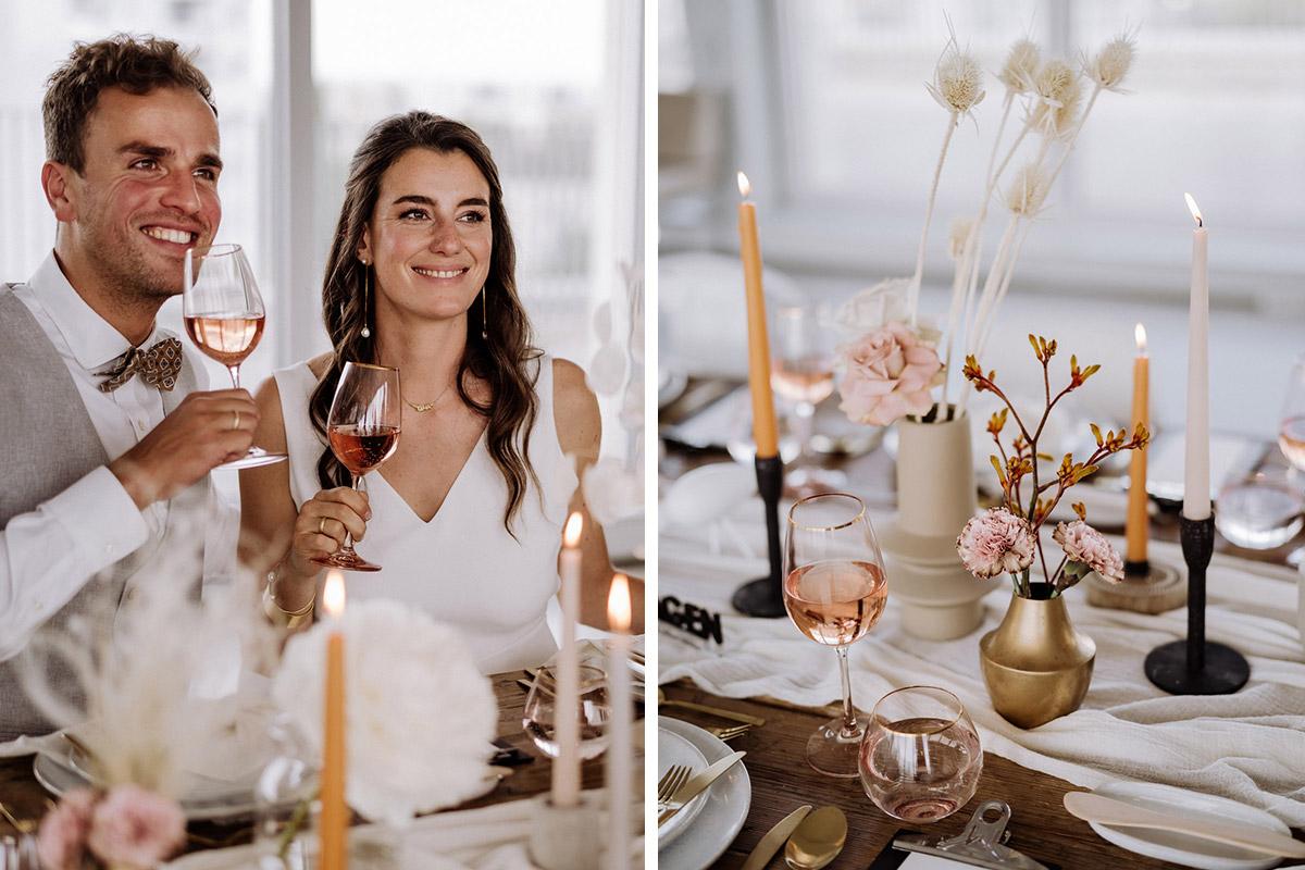 natürliche Tischdekoration Hochzeit- schöne Hochzeitslocations in Berlin zu finden in der urbanen Elopement Hochzeitsreportage von Hochzeitsfotograf Berlin © www.hochzeitslicht.de #hochzeitslicht