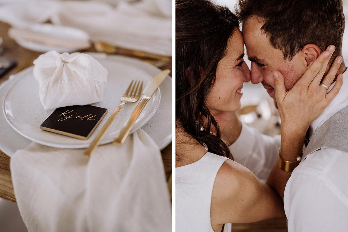 Tischdeko Hochzeit weiß schwarz Gold - schöne Hochzeitslocations in Berlin zu finden in der urbanen Elopement Hochzeitsreportage von Hochzeitsfotograf Berlin © www.hochzeitslicht.de #hochzeitslicht