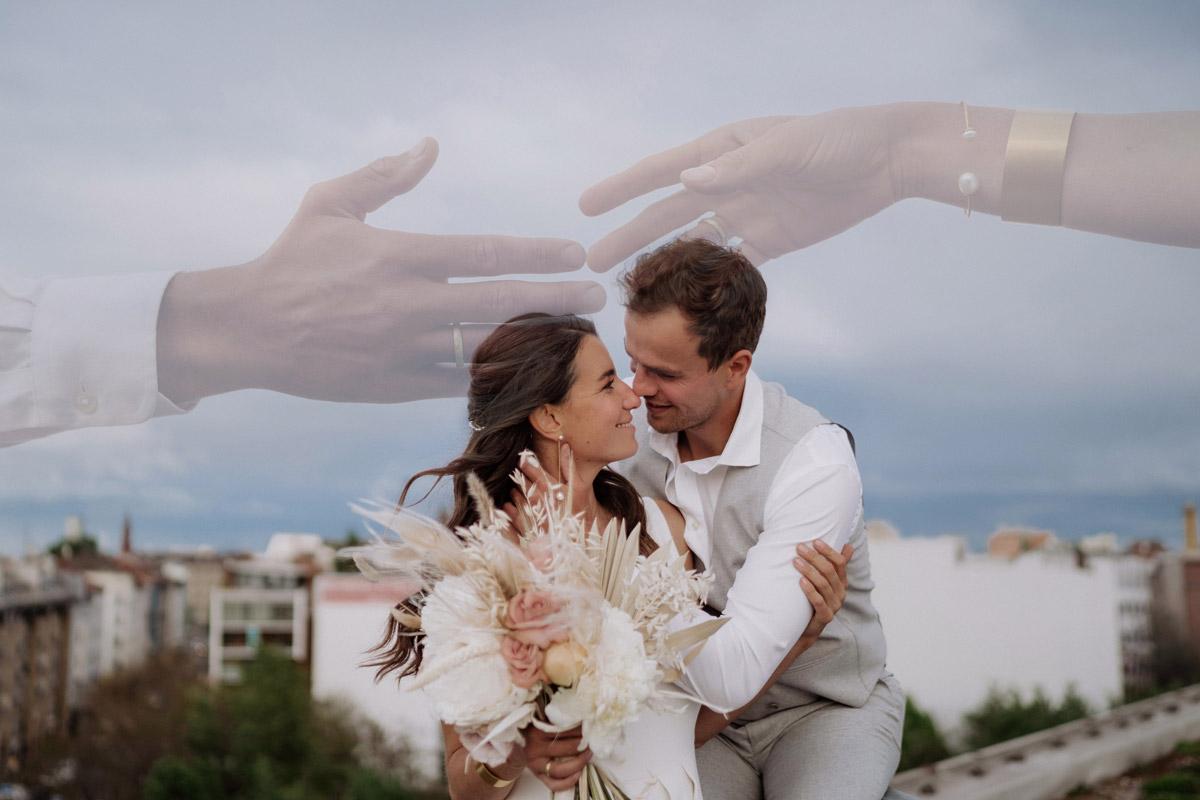 Idee Hochzeitsfoto Doppelbelichtung - schöne Hochzeitslocations in Berlin zu finden in der urbanen Elopement Hochzeitsreportage von Hochzeitsfotograf Berlin © www.hochzeitslicht.de #hochzeitslicht